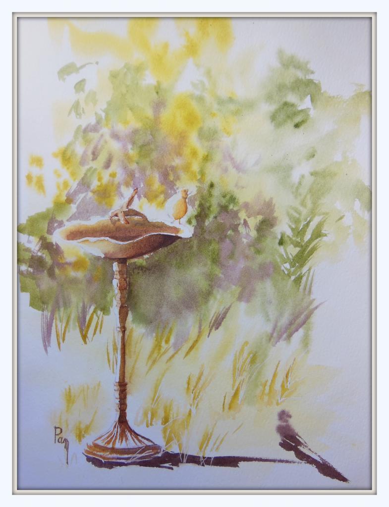 Bain des oiseaux 30x40 Aquarelle