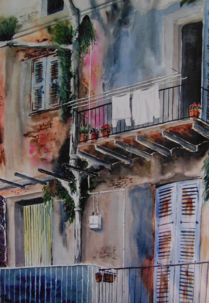 Balcons à Terra Nova 60x45 aquarelle