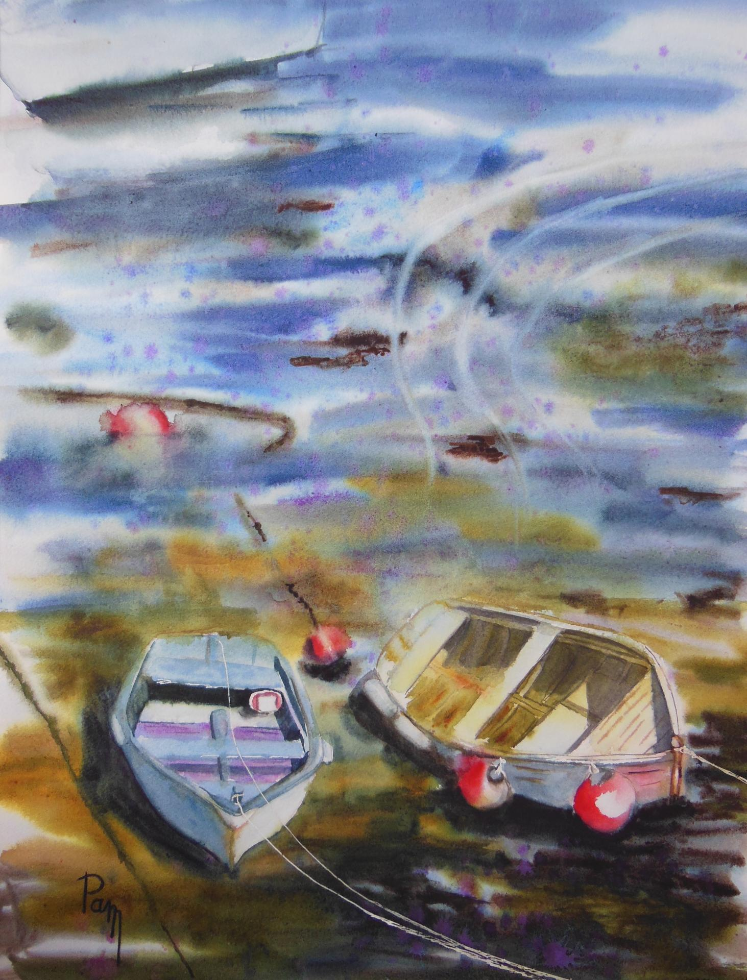 Duo à marée basse 60x45 aquarelle