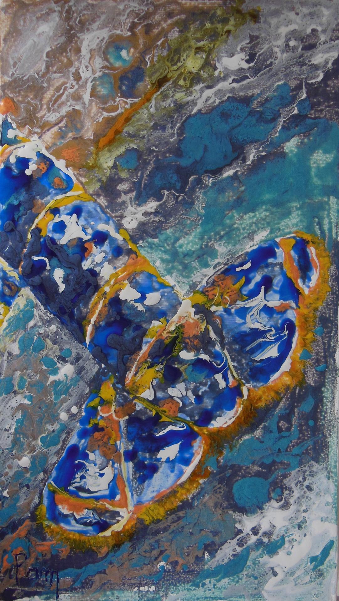 Homard bleu Mixed média 46x27