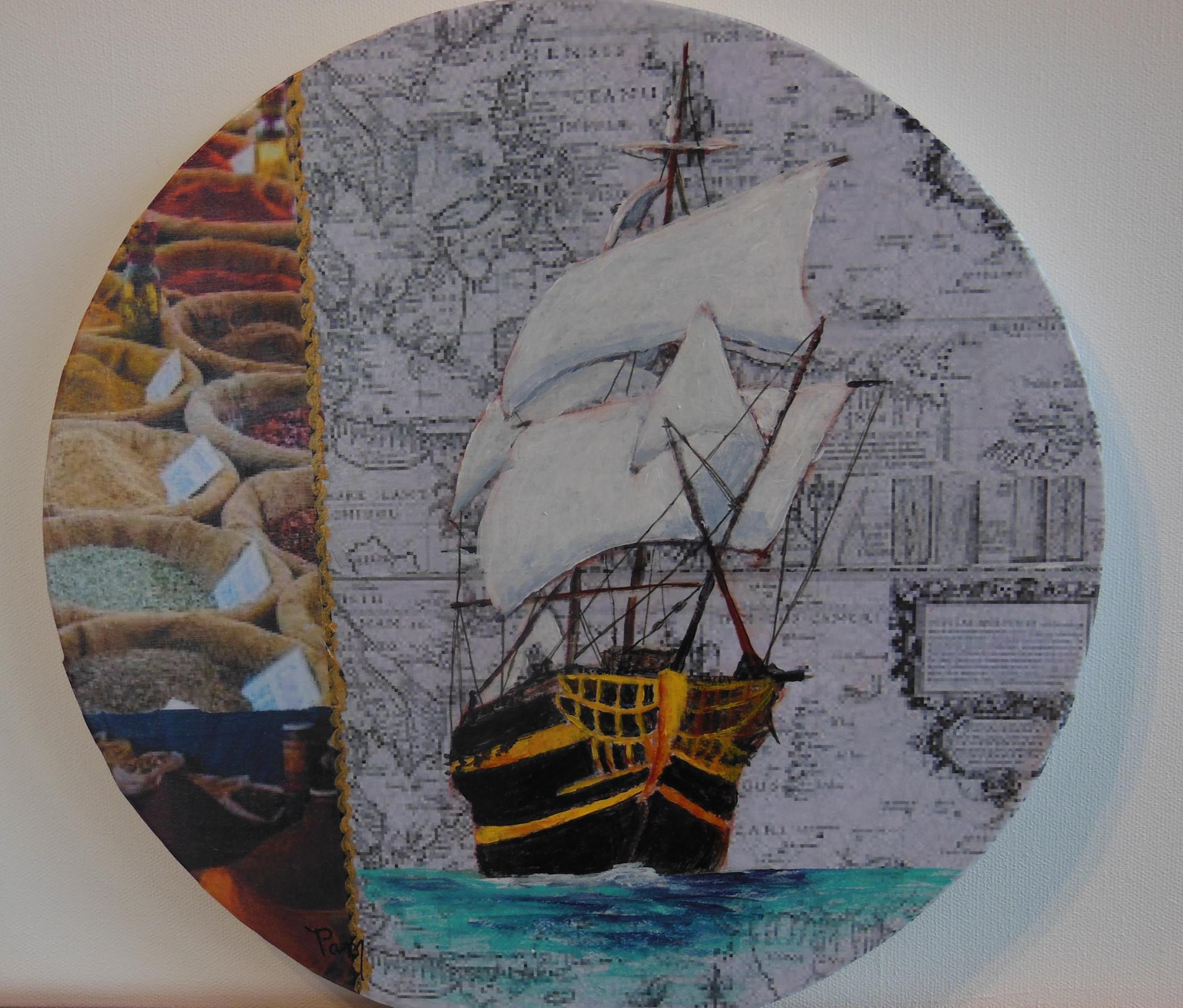 Les épices du Roi  Acrylique-collages diam.30