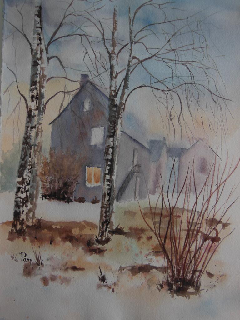 Maison des arts 38 x 28 aquarelle