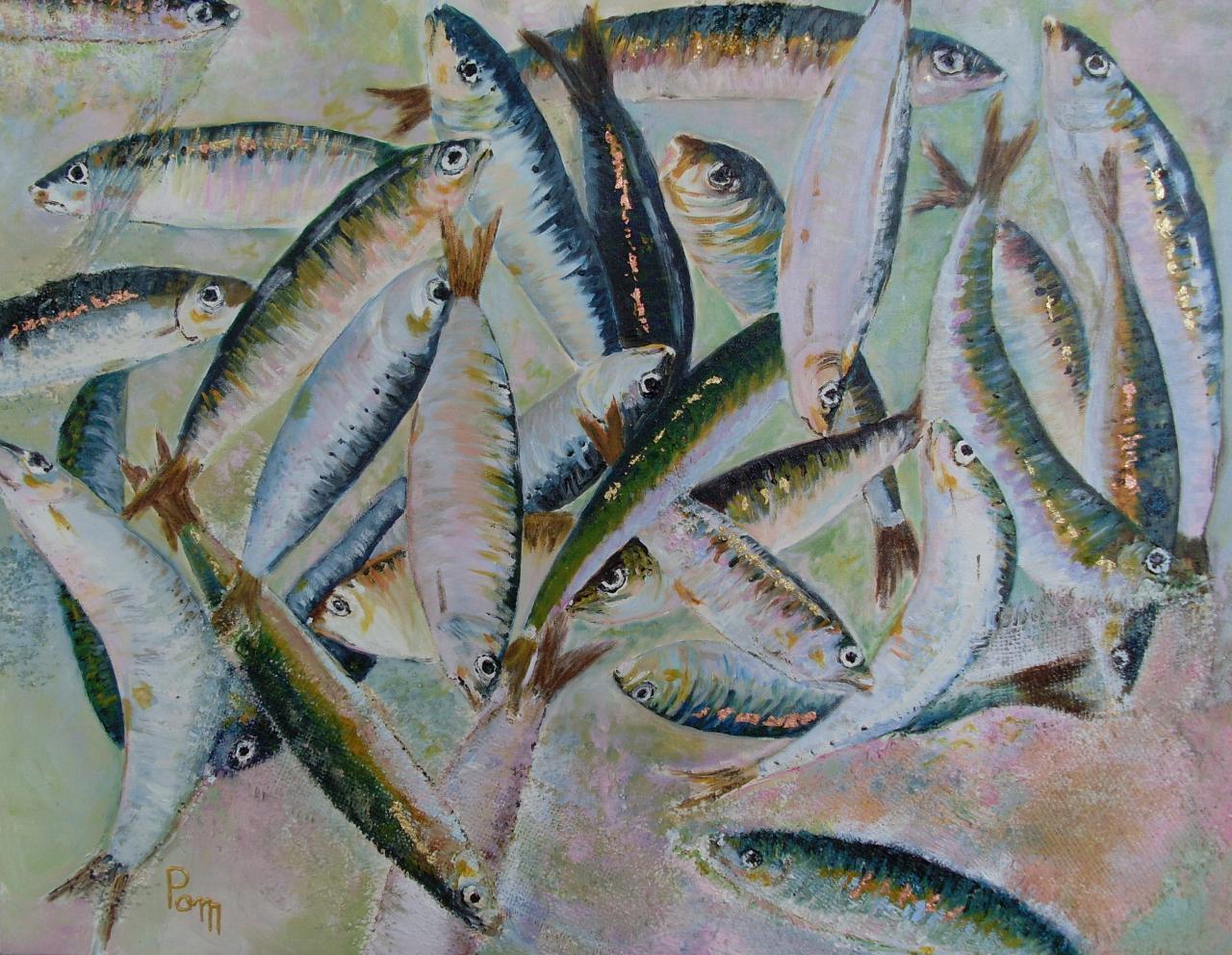 Pagaille dans les sardines 45x55 acrylique