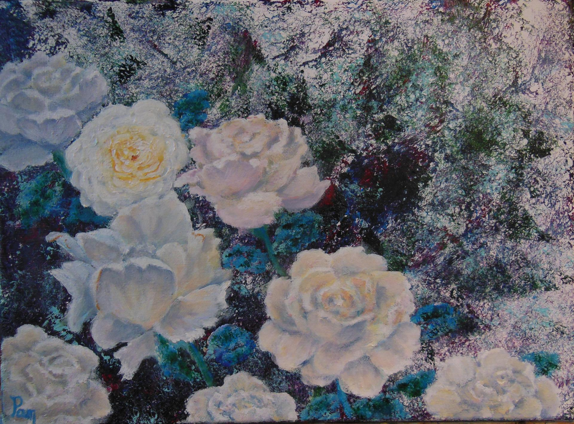 Roses blanches 30x40 Acrylique