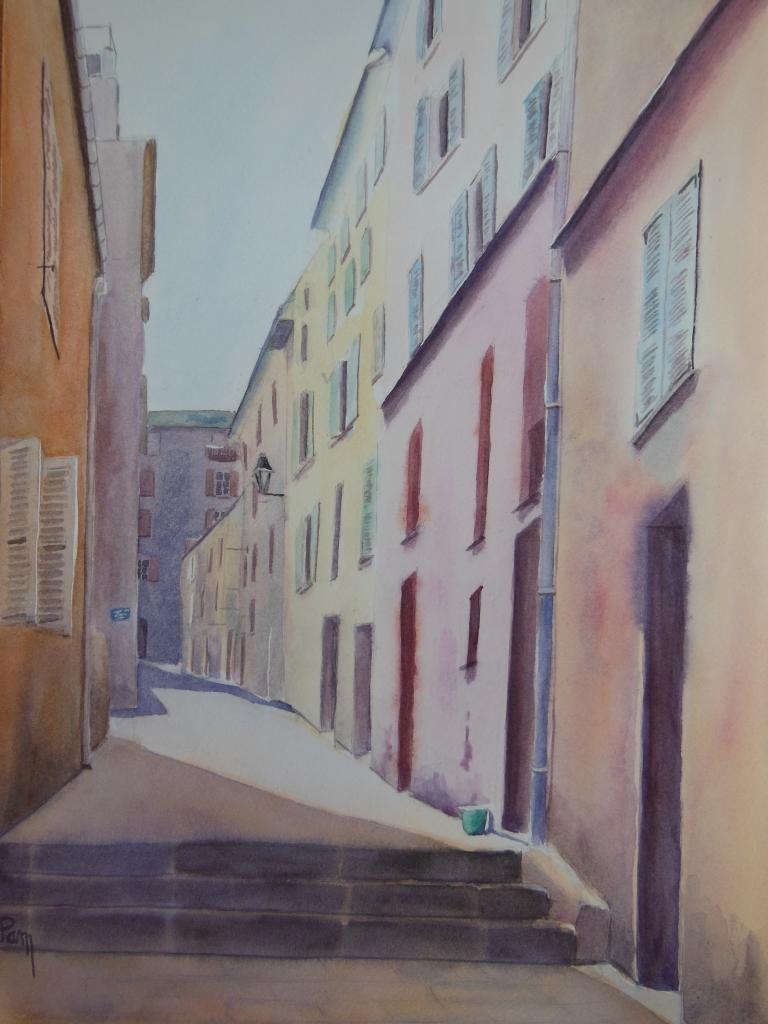 Ruelle à Bastia 60 x 45 aquarelle
