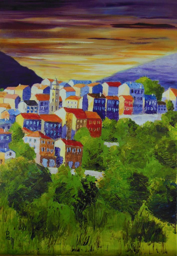 village corse 65 x 46 acrylique